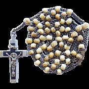 Antique Brass & Bone Bead Catholic Rosary – Ebony Inlaid Crucifix