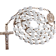 Vintage St. Thérèse of Lisieux Dimpled White Glass Catholic Pilgrimage Rosary