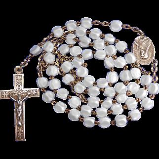 Vintage St. Thérèse of Lisieux Dimpled Glass Pilgrimage Rosary