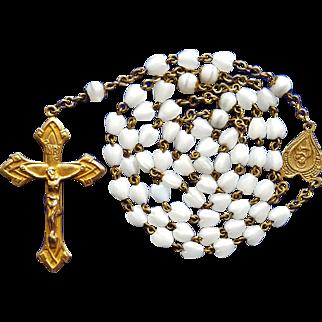 Vintage Heart-Shaped White Glass Bead & Brass Catholic Rosary