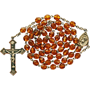Stunning Vintage Sterling & Topaz Crystal Catholic Rosary