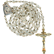 Vintage St. Anne de Beaupre Sparkling Catholic Rosary and Pouch