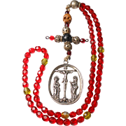 Antique 7-Decade German Rosary – 800 Silver Crucifixion Medal – Memento Mori - Red Tag Sale Item