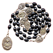Silky Black Wood Servite Rosary of the Seven Sorrows of Mary – Italy