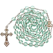 Antique French Art Nouveau Catholic Rosary – Scarce Aqua Crystal Beads – 51 Grams