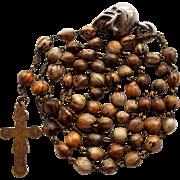 Antique Job's Tears Catholic Rosary – Stamped Folk Art Jesus & Mariazell Crucifix – Silver Memento Mori Skull