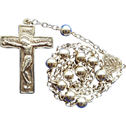 Glowing Vintage Sterling Silver One-Decade Catholic Rosary – Rare Artisanal Components