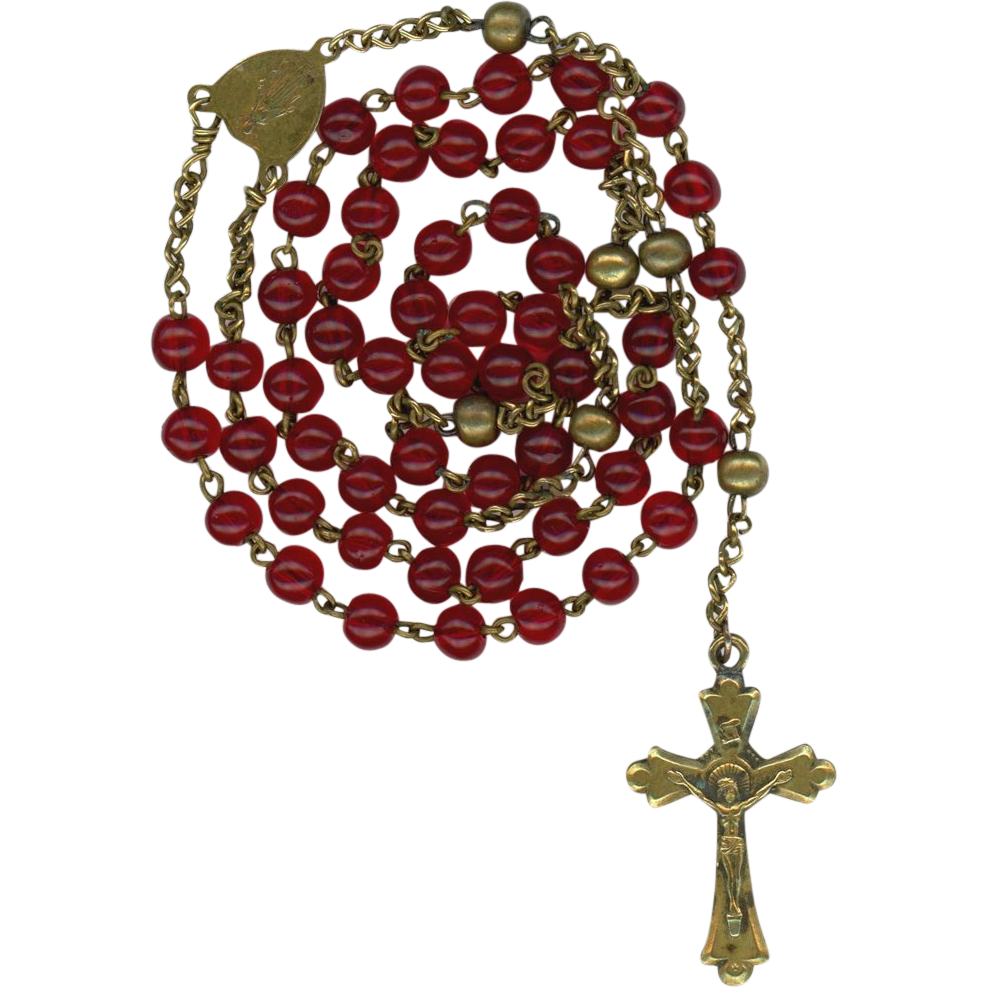Antique Brass & Ruby Red Rosary – Sweet & Petite