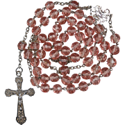 Lacy Art Nouveau & Peach Glass Rosary – French Silver Hallmarks