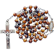 Vintage French Art Deco Enamel & Art Glass Catholic Rosary