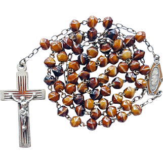 Vintage French Art Deco Enamel & Art Glass Catholic Rosary