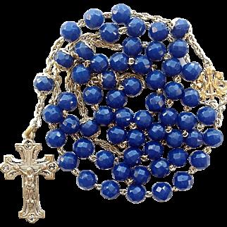 Antique Art Nouveau French Silver & Art Glass Catholic Rosary – 56 Grams