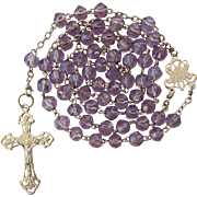 Antique Art Nouveau Silver & Pale Lilac Glass Catholic Rosary – French Hallmarks