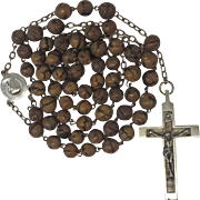 Fabulous Corozo Rosary with Inlaid Crucifix – Lourdes Center Signed Karo