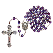 Vintage Sterling & Blue Glass Rosary – Stunning Multi-Devotional Crucifix – 45 Grams