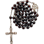 Petite Napoleon III Garnet Glass & Silver Rosary – Lyon - Red Tag Sale Item
