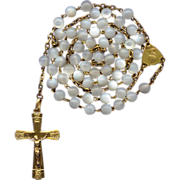 Feminine French Gold Vermeil & Mother of Pearl Rosary