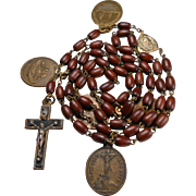 Fabulous Antique Olivewood Rosary with Rare Devotional Medals