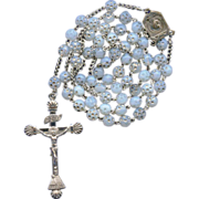 Rare Fine 935 Silver Mariazell Crucifix on Dimpled Opalescent & Silver Bead Rosary – Unique!