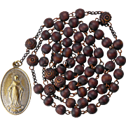 Soothing Antique Wood Rosary with German Miraculous Medal