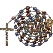 Vintage Multi-Color Glass Bead Catholic Rosary – Double-Capped – Amazing 83 Grams!