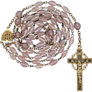 Antique Saphiret & Gilded Brass Catholic Rosary – Jesuit Monogram Center – Crown of Thorns Crucifix