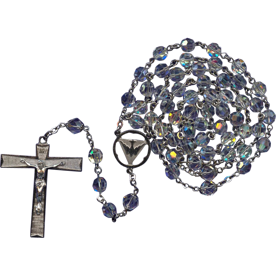 1970s Antaya Sterling & Glass Catholic Rosary – Holy Spirit Center – 45 Grams