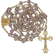 French Art Nouveau Antique Gold Vermeil & Saphiret Catholic Rosary