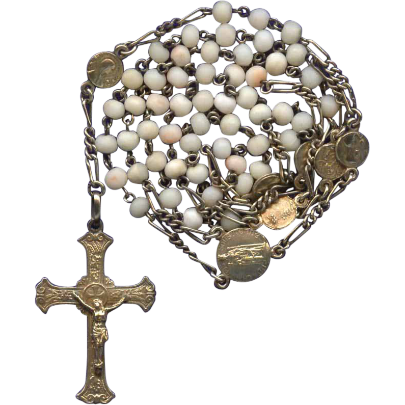 Rare White Angelskin Coral & Vermeil Art Nouveau Rosary – Chartres Black Madonna Center – Signed Lourdes Tray