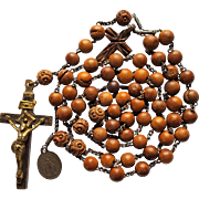 Antique German Hand-Made Boxwood Catholic Rosary – Inlaid Brass Crucifix – 61 Grams