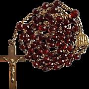 Elegant 1920s Genuine Garnet & Gold-Filled Rosary – Hallmarked GK