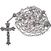 Scarce Vintage Creed Sterling & Swarovski Crystal Catholic Rosary – Amazing Fancy Paters – 56 Grams