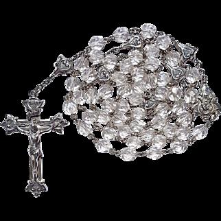 Scarce Vintage Creed Sterling & Swarovski Crystal Catholic Rosary – Amazing Fancy Paters – 56 Grams