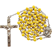 Elegant Vintage 1945 Sterling & Soft Yellow Glass Catholic Rosary