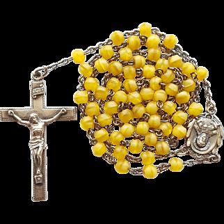 Elegant Vintage 1945 Sterling & Soft Yellow Glass Catholic Rosary