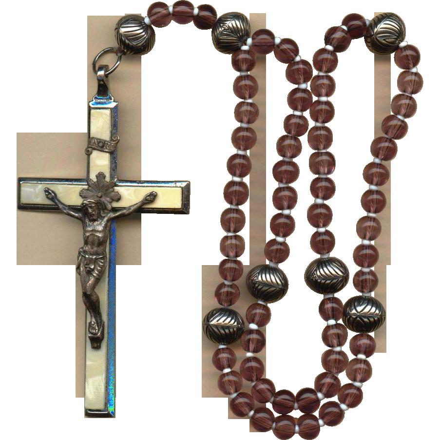 Vintage 6 Decade German Catholic Rosary Large Roma