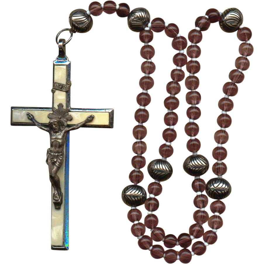 Vintage 6-Decade German Catholic Rosary – Large Roma Crucifix – 83 Grams