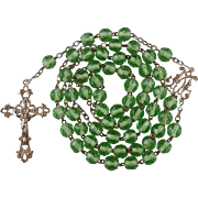 Cheerful Art Nouveau Green Glass Rosary