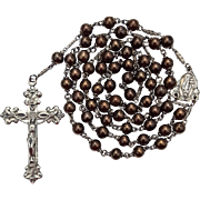 Glowing Vintage 1950s Dean Sterling & Copper Art Glass Bead Catholic Rosary – Fancy Spacer Links