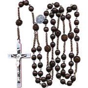 Scarce Seven Sorrows Wood Habit Rosary – Aluminum & Steel – France – 106 Grams
