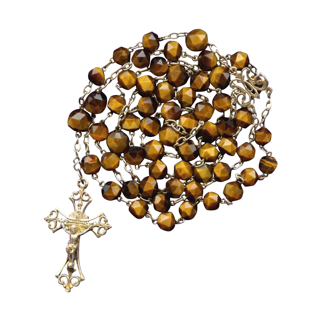 Antique French Tiger Eye Art Nouveau Catholic Rosary – Gold Vermeil