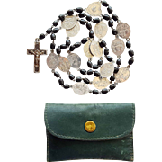 Antique French Stations of the Cross Ebony Catholic Rosary Chaplet – Scarce Trinity Crucifix – Leather Pouch