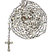 Sumptuous Art Nouveau 15-Decade Silver & Mother of Pearl Rosary – 67 Grams
