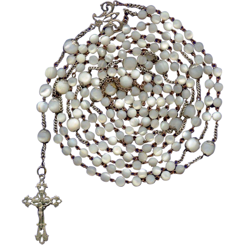 Sumptuous Art Nouveau 15-Decade Silver & Mother of Pearl Catholic Rosary – 67 Grams