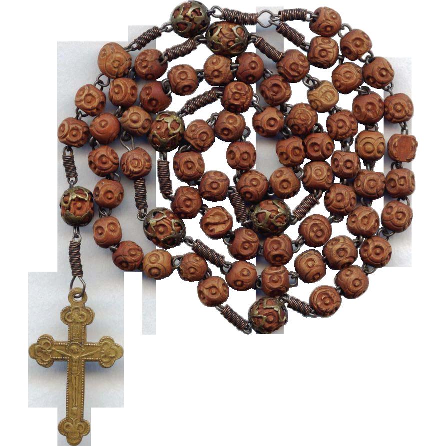 Rare 19C Brigittine 6-Decade Rosary – All Rosette Beads & Stamped Brass Crucifix