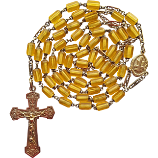 Vintage Gold-Filled Catholic Rosary – Gold Tubular Glass Beads – Fancy Spacers – 48 Grams