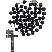 Fabulous Large Black Glass Rosary – Our Lady of Fatima Center – Amazing 194 Grams