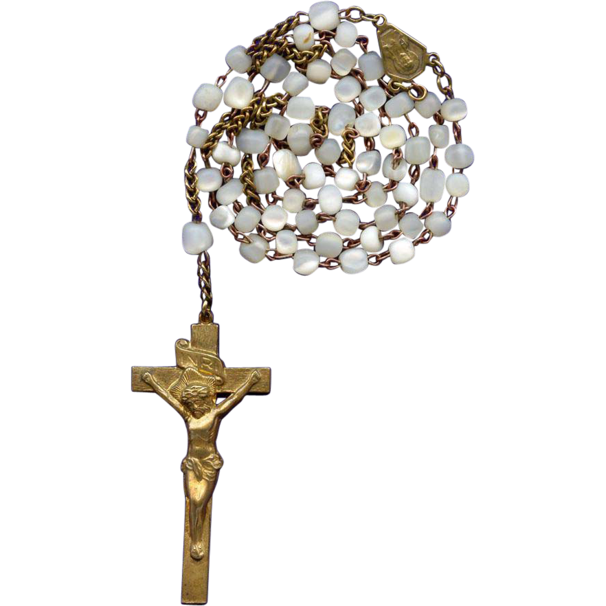 Scarce Vintage Brass & Mother of Pearl Catholic Rosary – Elongated Stamped Crucifix