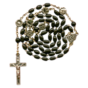 Charming Vintage Catholic Eucharist Rosary – Flower & Saint Spacer Medals – Silver Crucifix