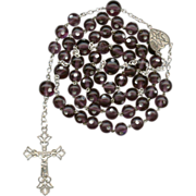 Outstanding Venetian Dot Glass & Silver Victorian Rosary – 52 Grams - Red Tag Sale Item